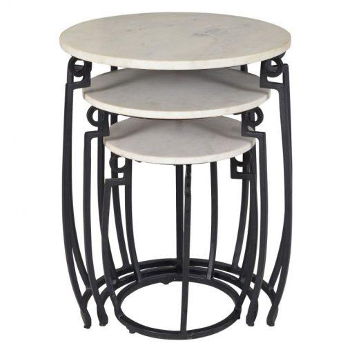 livia 3 piece round nesting table white and black