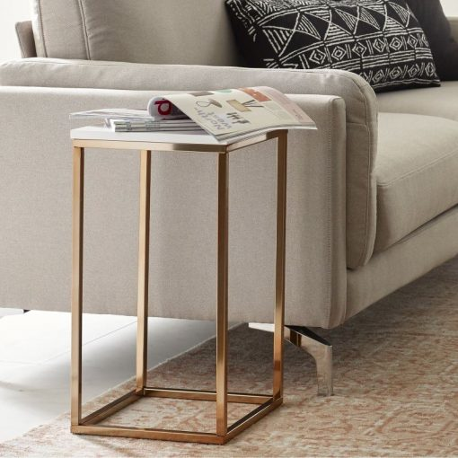 logan square marble top and rose gold metal frame