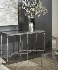 loire gray marble table top and x cross chrome metal frame console table