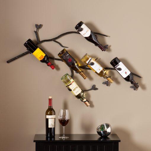loretta 6 bottle wall mounted branch wine rack sculpture