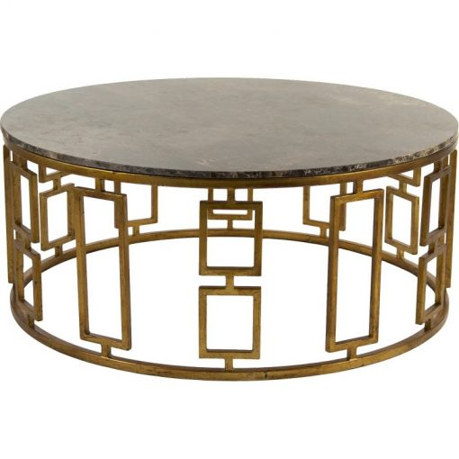lucia antique brass round and brown marble top coffee table