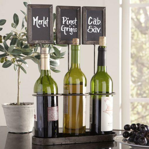 lucine chalkboard 3 bottle tabletop wine rack