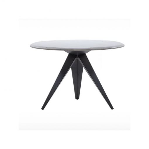 luna white marble top and triangle base dining table