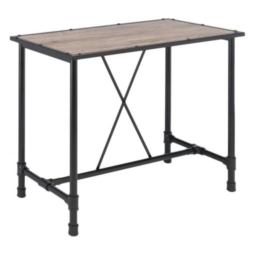 maisie industrial rustic oak and metal bar table1