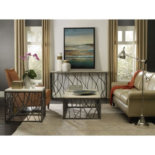 malia large curved steel base table console table