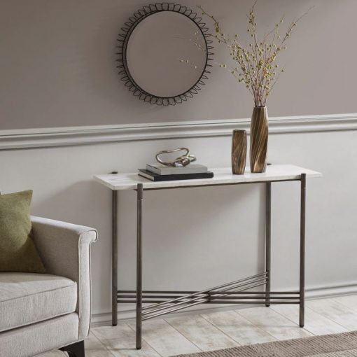 margarita white marble with pewter frame console table