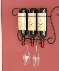 maria 3 bottles of wine and 2 glasses wall mounted wine
