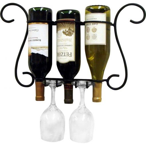 maria 3 bottles of wine and 2 glasses wall mounted wine rack