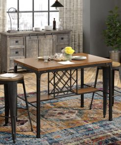 marisol wine storage counter table including metal frame with a weathered veneer
