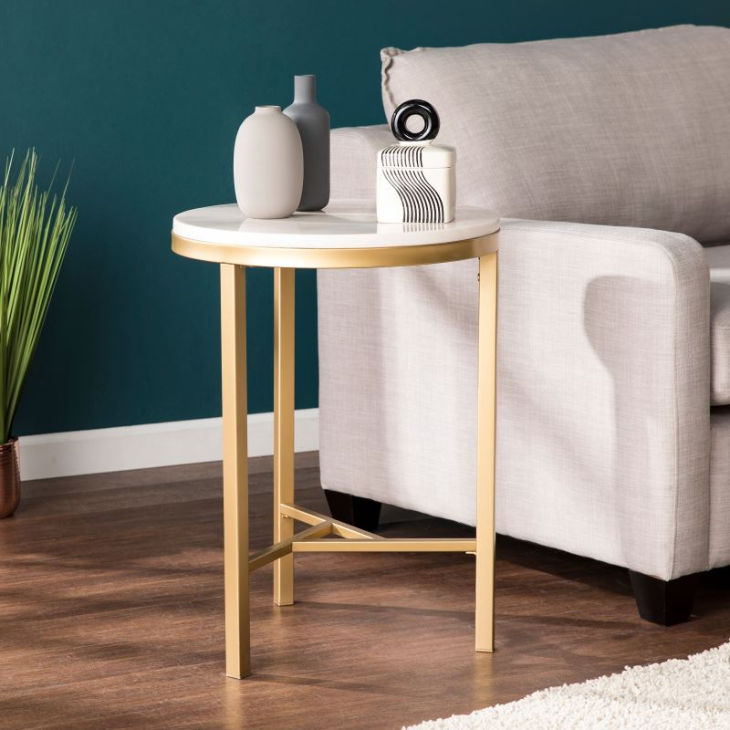 marquis ivory marble and champagne metal frame side table
