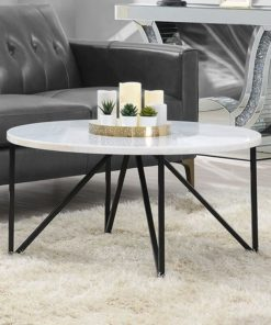martinique marble coffee table with powder coated metal legs