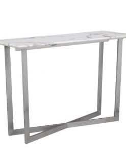 masha white contemporary marble with x frame brushed nickel console table