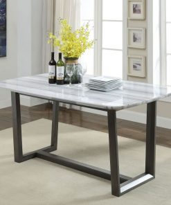 mina dining table in marble and gray oak