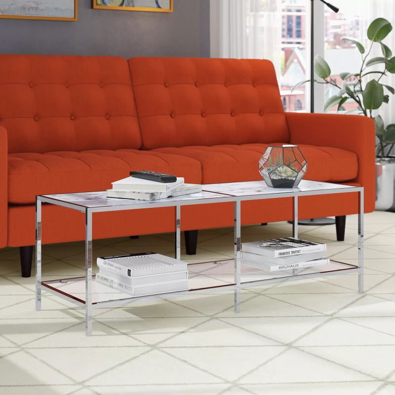 mischa marble rectangle coffee table top and tempered glass lower tier