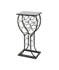 moira 11 bottle black metal with marble finish top wine rack