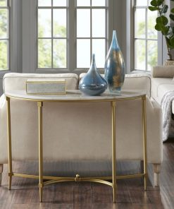 morgan white marble top and gold tone metal console table