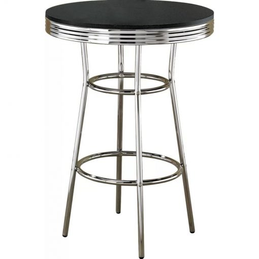 myrah round tabletop and four slanted legs connected by circular footrest pub table