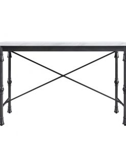 nicola white marble top and metal x frame base dining table