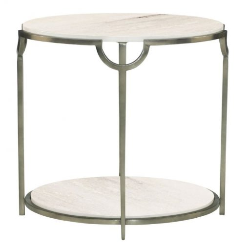 odessa white carrara marble top and solid steel frame end table