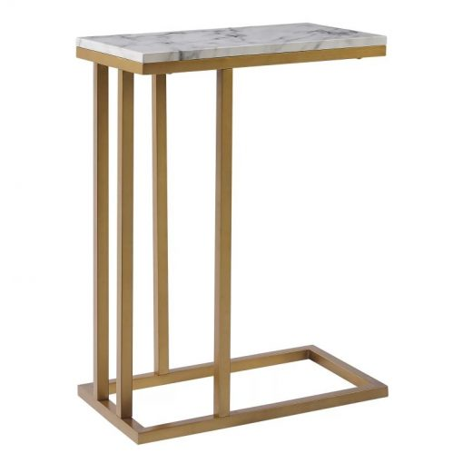 odette c shape table faux marble and brass metal frame