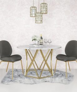 odette marble top with geometrically designed metal base dining table
