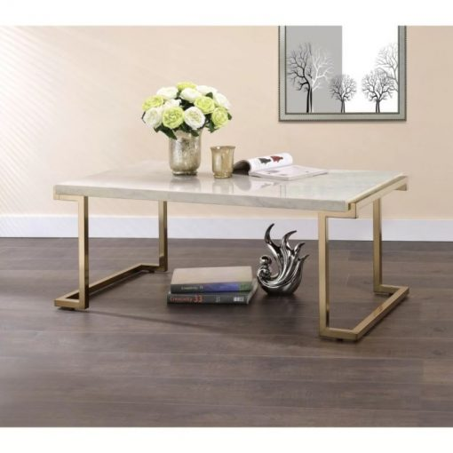 ophelia marble and champagne frame coffee table