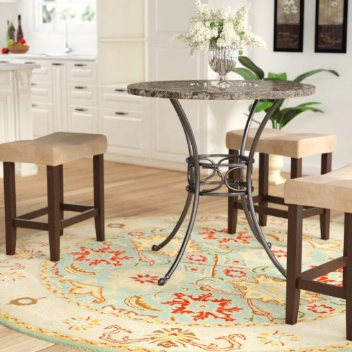 padma marble tabletop and sturdy metal base dining table