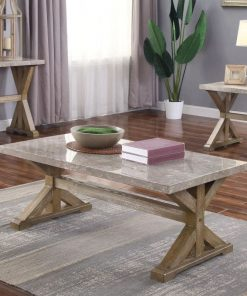padua marble table top with wooden trestle base