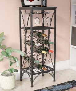 palmizana 15 bottle with 9 glass stemware floor wine rack