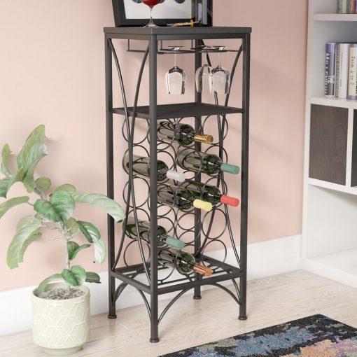 palmizana 15 bottle with 9 glass stemware floor wine rack