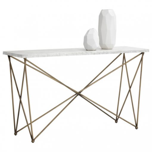 patbo marble top and antique brass frame console table