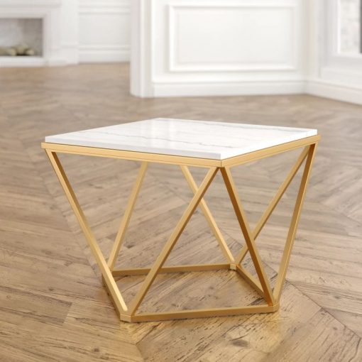 pilcro antiqued champagne coffee table with white marble top