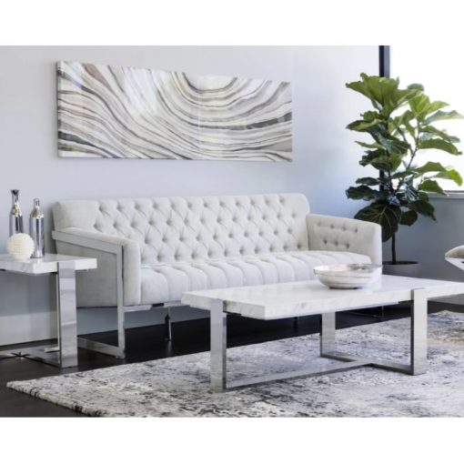 priya stainless steel and marble coffee table