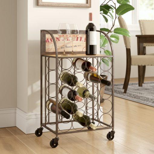 roller 20 bottle floor wine rack with four castered wheel feet