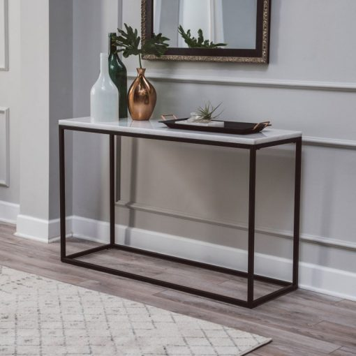 rouen rectangle console table with white marble top console table