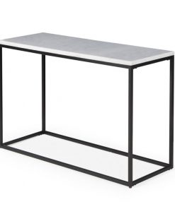 rouen rectangle console table with white marble top console tables
