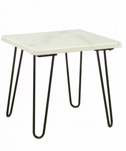 rowan white marble and black hair pin legs end table