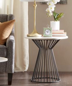 samantha mid century white marble top with metal frame end table