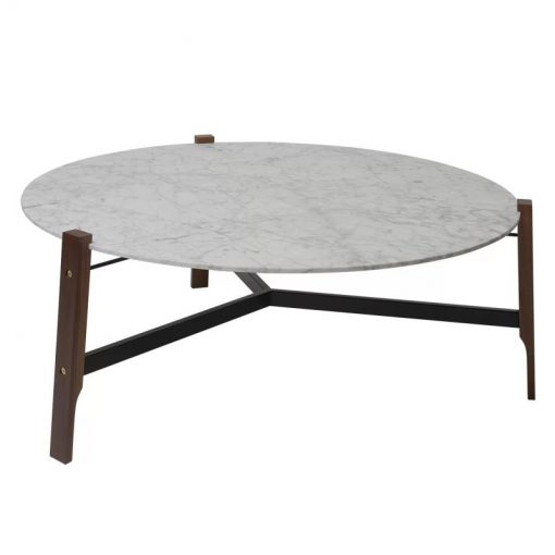 simone honed marble top and solid walnut legs coffee table