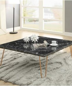 sonja square marble top coffee table in black marble and gold