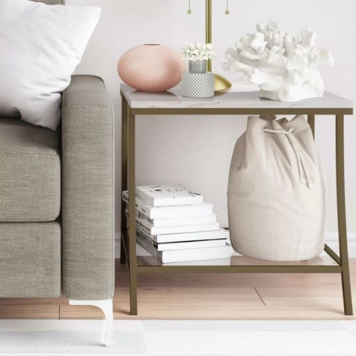 talei brass metal frame with marble top end table