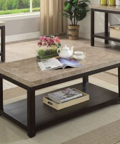 tania transitional dark walnut genuine marble coffee table
