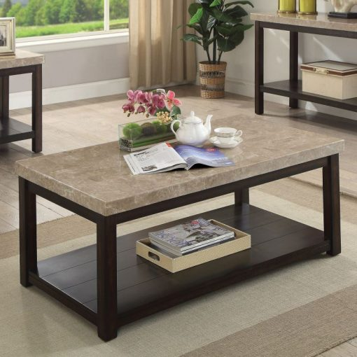 tania transitional dark walnut genuine marble coffee table