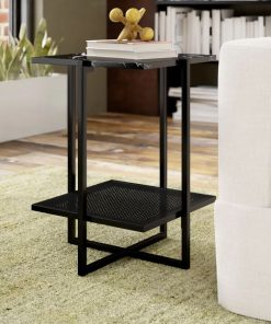 terrace marble laminated top with geometric frame metal base end tables