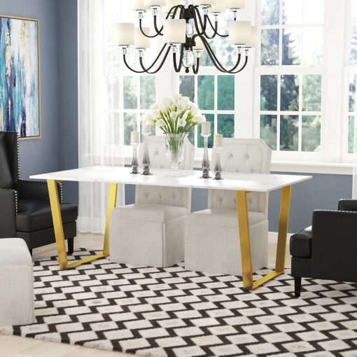 thompson rectangular white marble top and golden steel dining table