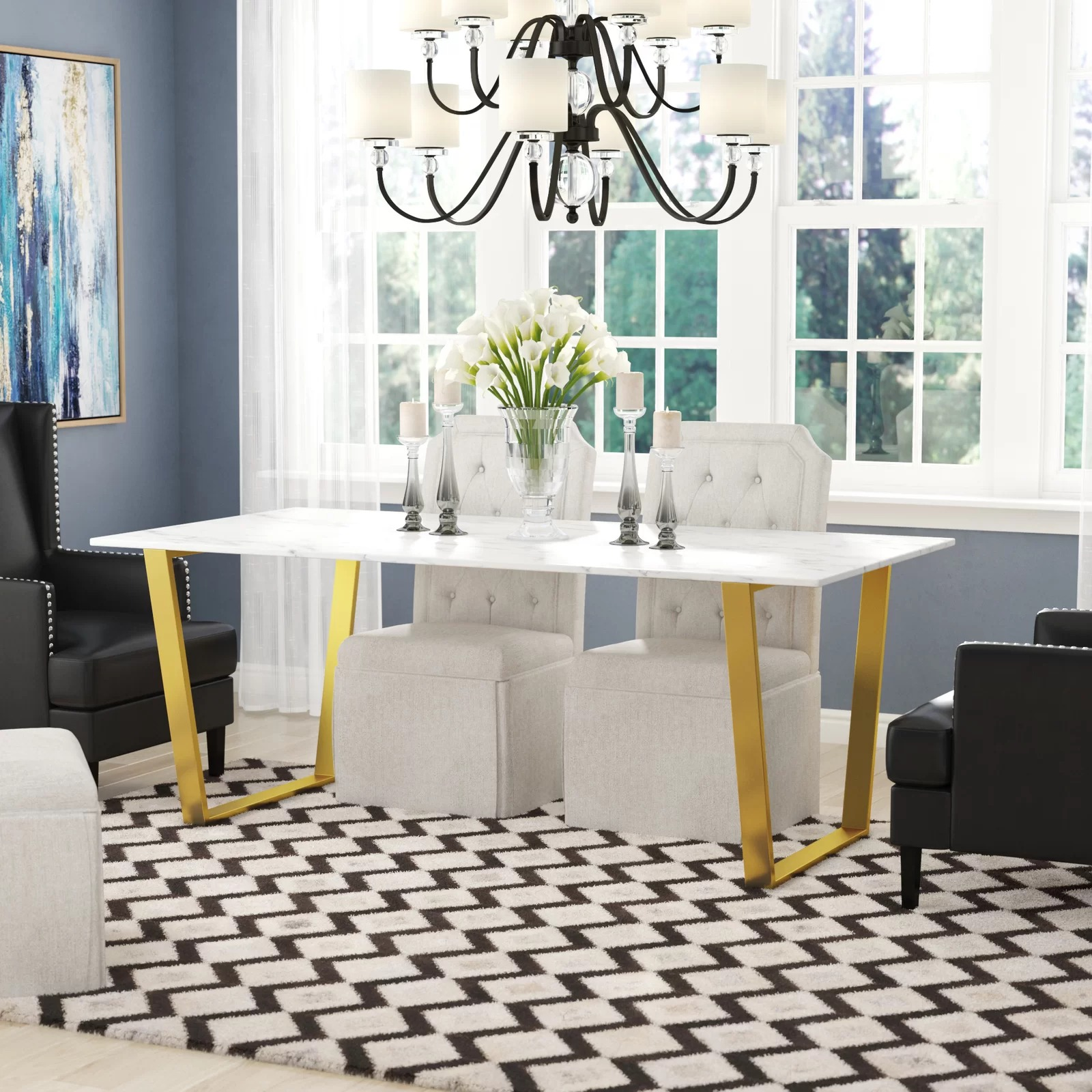 Thompson Rectangular White Marble Top And Golden Steel Dining Table Mocome