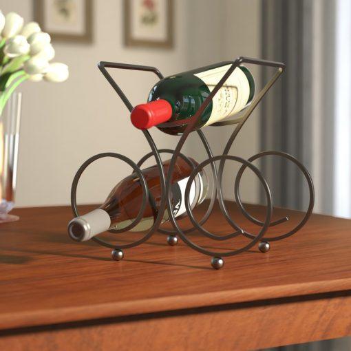thrive 3 bottle portable metal tabletop wine rack
