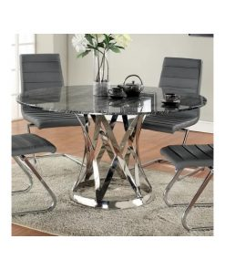 valdis round table top and sleek metal base dining table