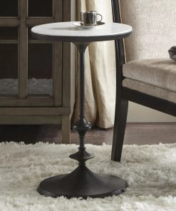 vieira white marble top and black iron base accent table