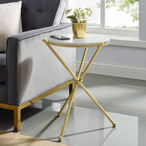 vivaldi marble top and metal frame accent table